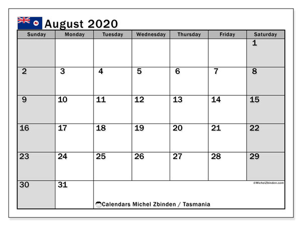 "Printable ""Tasmania"" calendar with public holidays. Monthly August 2020 calendar and schedule to print free."
