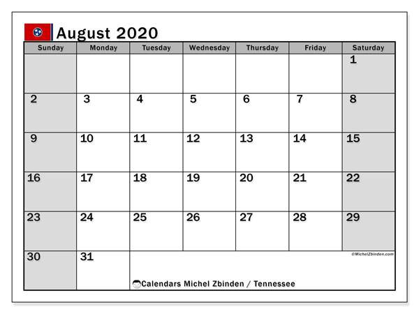 August 2020 Calendar, with the holidays of Tennessee. Holidays calendar to print free.