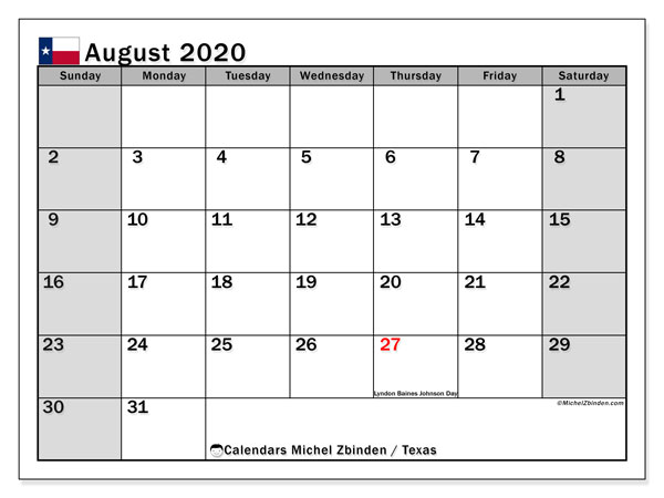 Calendar August 2020 - Texas. Public Holidays. Monthly Calendar and free timetable to print.