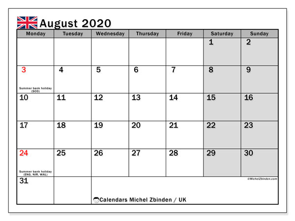 August 2020 Calendar, with the holidays of UK. Holidays calendar to print free.