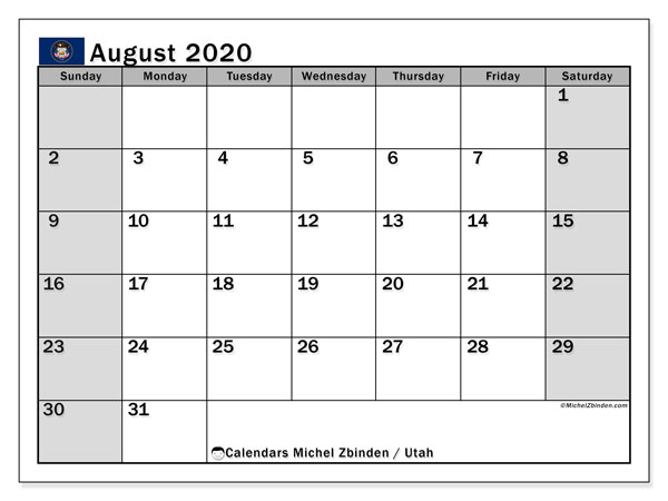 August 2020 Calendar, with the holidays of Utah. Holidays calendar to print free.