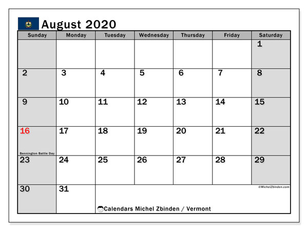 Calendar August 2020 - Vermont. Public Holidays. Monthly Calendar and timetable to print free.
