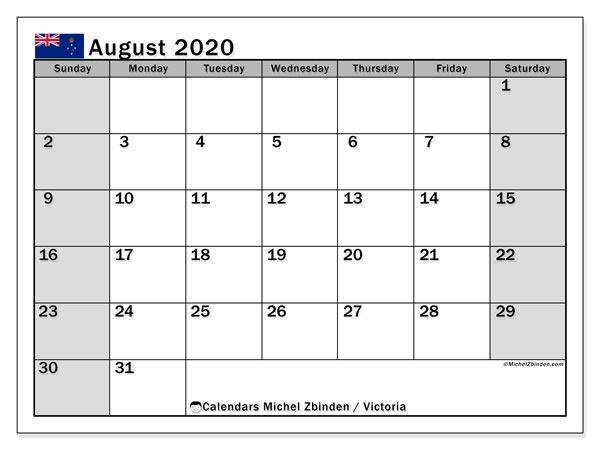 August 2020 Calendar, with the holidays of Victoria. Holidays calendar to print free.