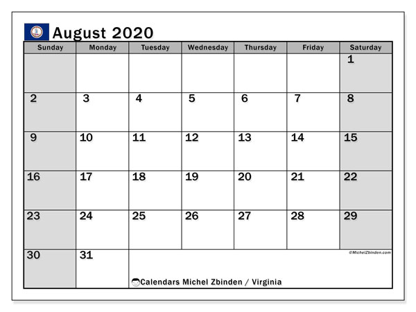 August 2020 Calendar, with the holidays of Virginia. Holidays calendar to print free.