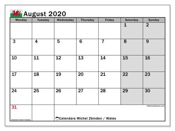 Calendar August 2020, with the holidays of Wales. Free printable planner.