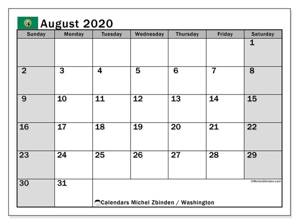 August 2020 Calendar, with the holidays of Washington. Holidays calendar to print free.