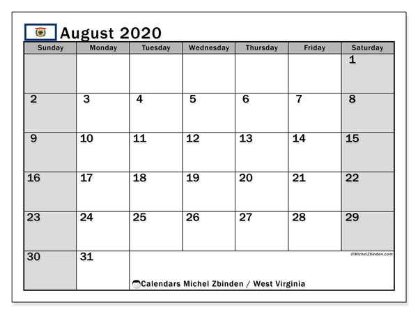 "Printable ""West Virginia"" calendar with public holidays. Monthly August 2020 calendar and free planner to print."