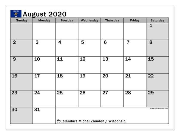 Calendar August 2020 - Wisconsin. Public Holidays. Monthly Calendar and free printable agenda.