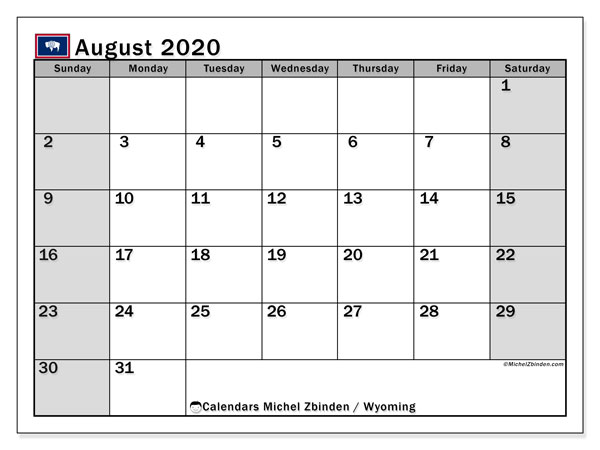 Calendar August 2020 - Wyoming. Public Holidays. Monthly Calendar and schedule to print free.