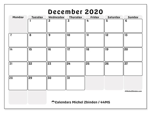 December 2020 Calendar, 44MS. Free planner to print.