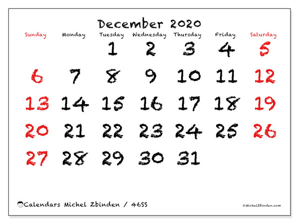 Calendar December 2020 - 46SS. With chalk. Monthly Calendar and agenda to print free.