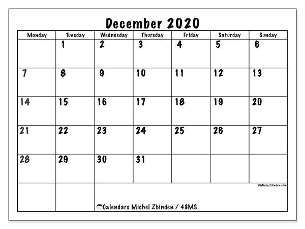 December 2020 Calendar, 48MS. Free planner to print.