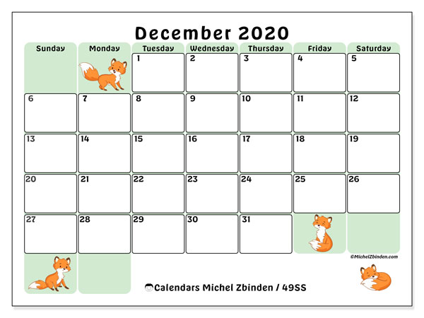 Calendar December 2020 - 49SS. Little foxes. Monthly Calendar and planner to print free.