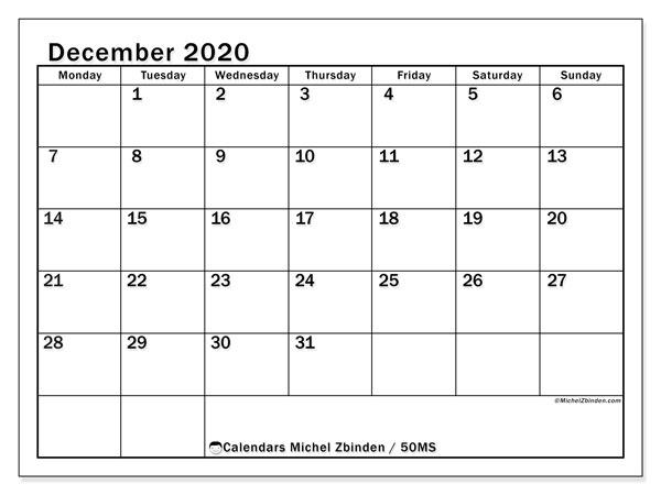 December 2020 Calendar, 50MS. Free calendar to print.