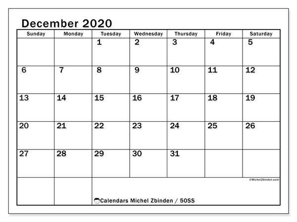 December 2020 Calendar, 50SS. Free printable monthly planner.