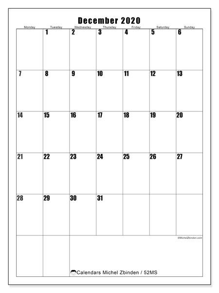 December 2020 Calendar, 52MS. Free printable monthly planner.