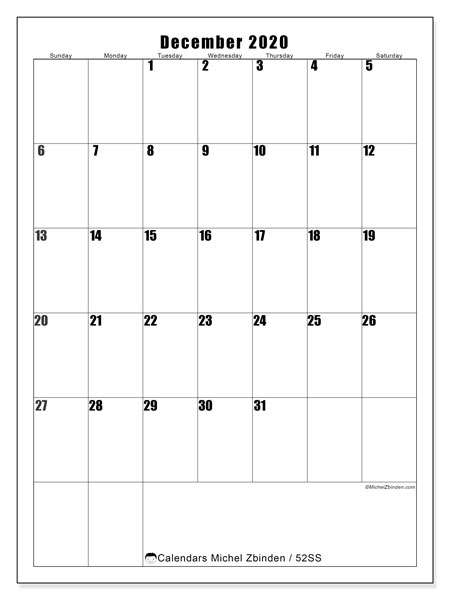 December 2020 Calendar, 52SS. Free calendar to print.