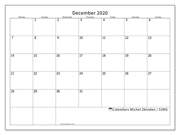 December 2020 Calendar, 53MS. Monthly planner to print free.