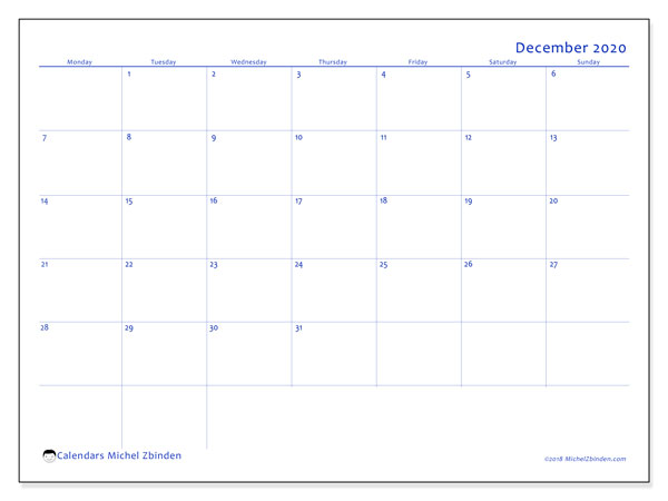 "Printable December 2020 calendar. Monthly calendar ""55MS"" and schedule to print free"