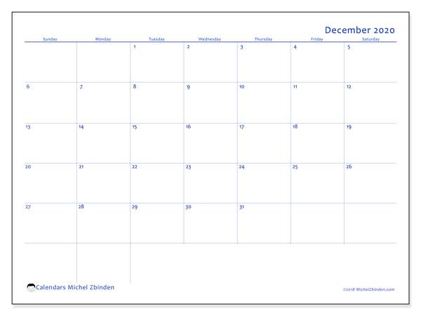 December 2020 Calendar, 55SS. Bullet journal to print free.
