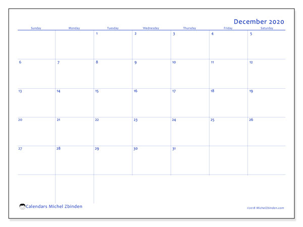 December 2020 Calendar, 55SS. Free planner to print.