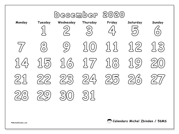 December 2020 Calendar, 56MS. Free printable bullet journal.