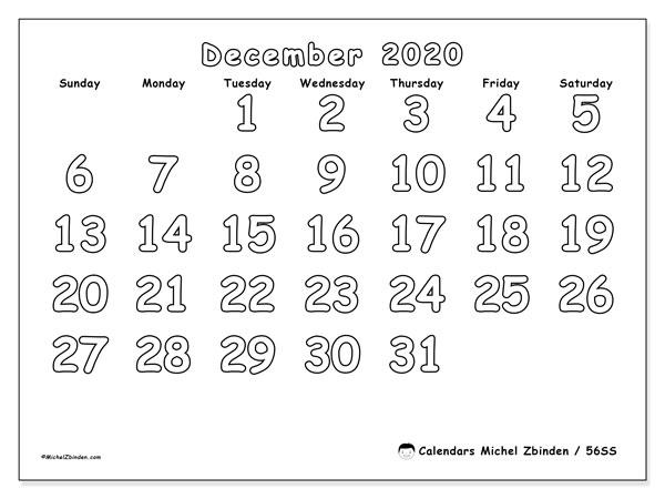 December 2020 Calendar, 56SS. Free bullet journal to print.