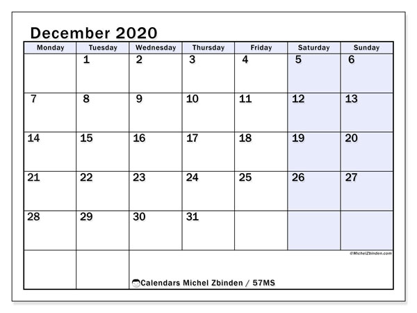 December 2020 Calendar, 57MS. Bullet journal to print free.