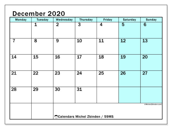 December 2020 Calendar, 59MS. Free printable monthly calendar.