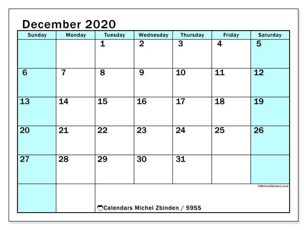 Calendar December 2020 - 59SS. South Turquoise. Monthly Calendar and free printable agenda.