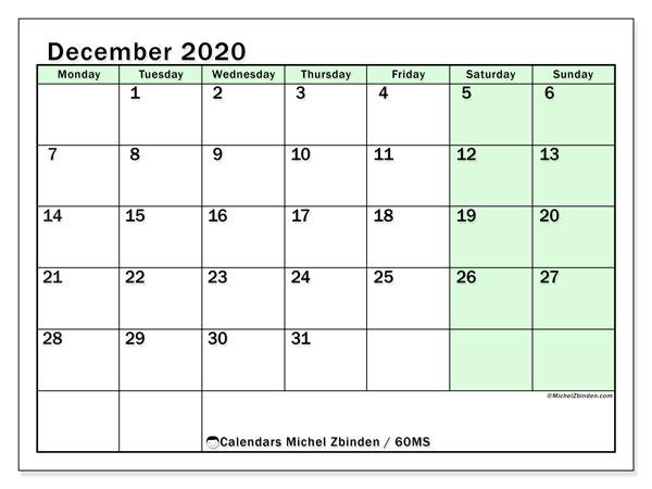 December 2020 Calendar, 60MS. Calendar for the month to print free.