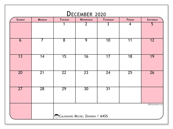 December 2020 Calendar, 64SS. Free printable monthly calendar.