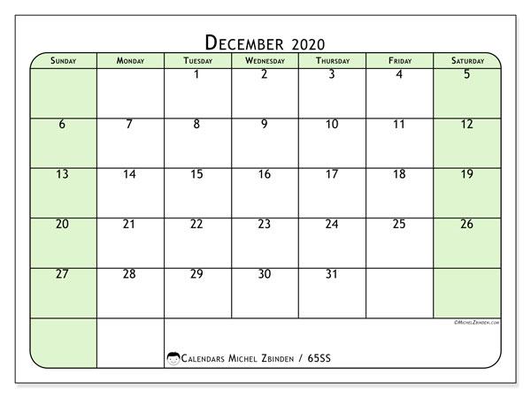 December 2020 Calendar, 65SS. Calendar to print free.