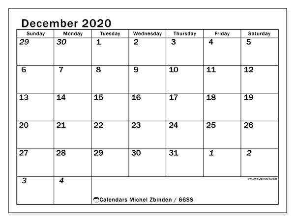 December 2020 Calendar, 66SS. Free bullet journal to print.