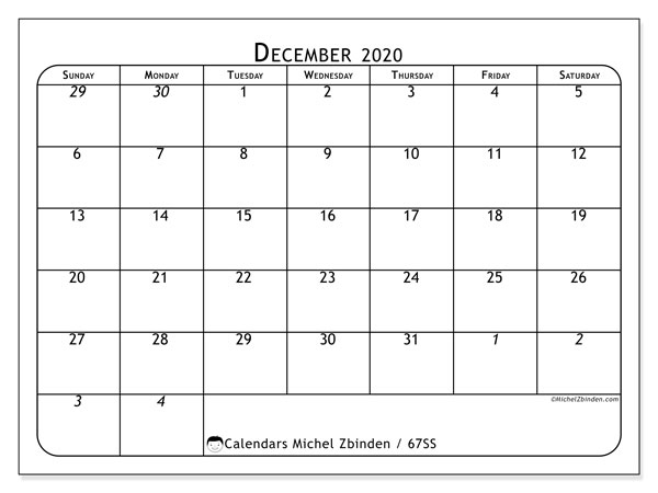 December 2020 Calendar, 67SS. Free bullet journal to print.
