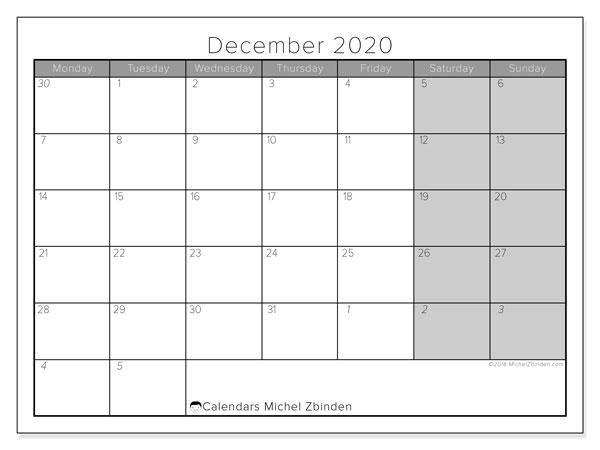 December 2020 Calendar, 69MS. Free printable monthly calendar.