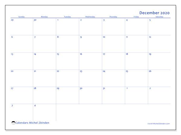 December 2020 Calendar, 73SS. Free bullet journal to print.