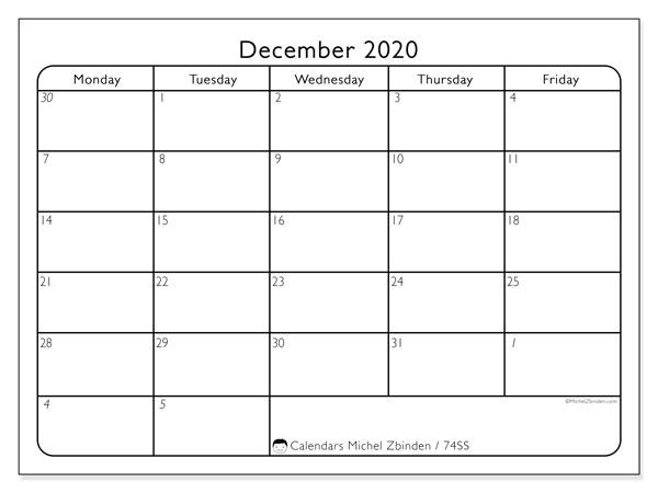 December 2020 Calendar, 74SS. Calendar to print free.