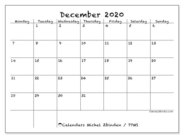 December 2020 Calendar, 77MS. Planner to print free.
