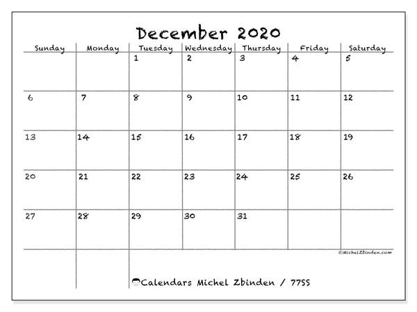 December 2020 Calendar, 77SS. Free bullet journal to print.
