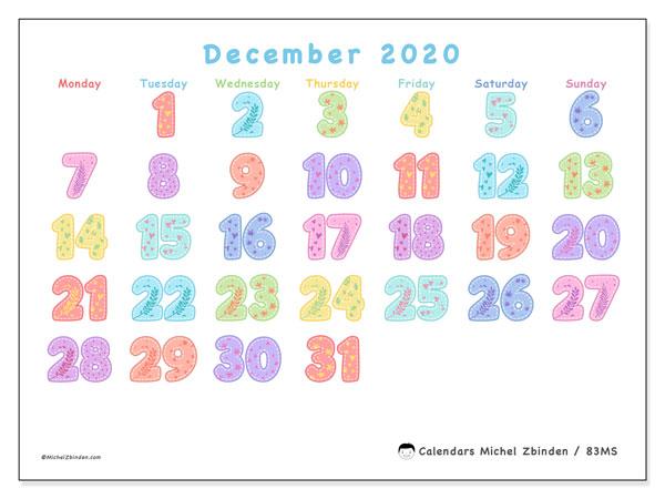 December 2020 Calendar, 83MS. Free bullet journal to print.
