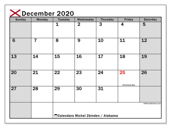 December 2020 Calendar, with the holidays of Alabama. Free printable calendar with public holidays.