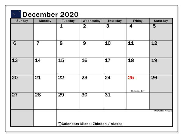 December 2020 Calendar, with the holidays of Alaska. Free printable calendar with public holidays.