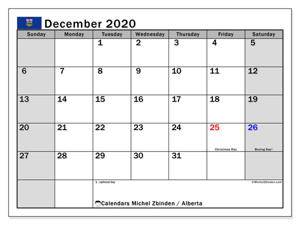 December 2020 Calendar, with the holidays of Alberta. Free printable calendar with public holidays.