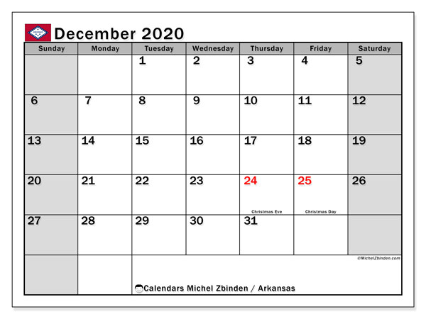 "Printable ""Arkansas"" calendar with public holidays. Monthly December 2020 calendar and free agenda to print."