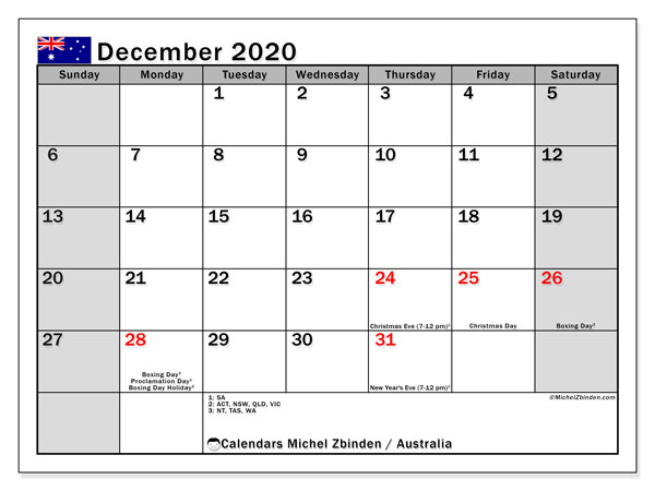 December 2020 Calendar, with the holidays of Australia. Holidays calendar to print free.