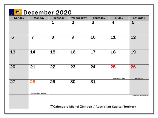Calendar December 2020 - Australian Capital Territory. Public Holidays. Monthly Calendar and free printable bullet journal.