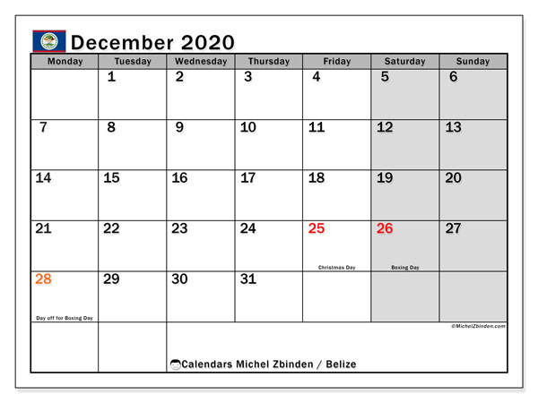 December 2020 Calendar, with the holidays of Belize. Free printable calendar with public holidays.