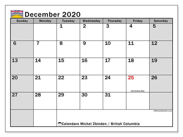 December 2020 Calendar, with the holidays of British Columbia. Holidays calendar to print free.