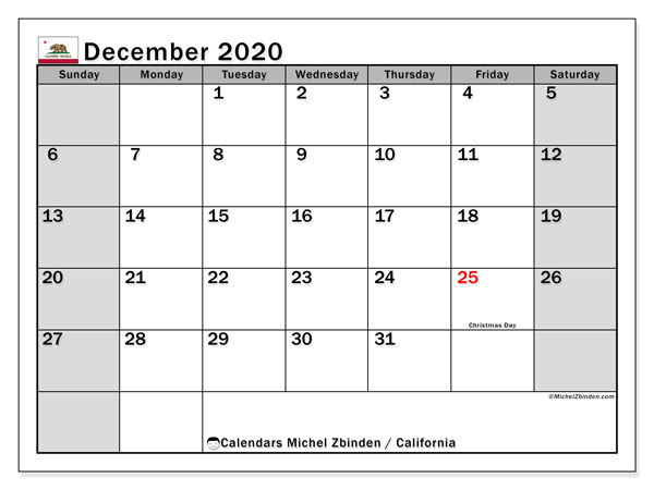 December 2020 Calendar, with the holidays of California. Free printable calendar with public holidays.